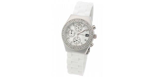 Dámské ocelové hodinky Yves Bertelin s kamínky a bílým pryžovým řemínkem