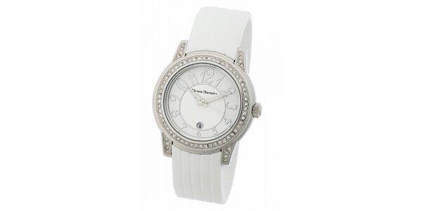 f6d973b797f Dámské ocelové hodinky Yves Bertelin s kamínky a bílým pryžovým řemínkem