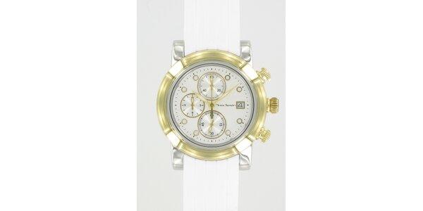 Ocelové hodinky Yves Bertelin se zlatými detaily a bílým pryžovým řemínekm