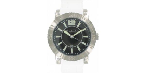 Pánské ocelové hodinky Yves Bertelin s bílým pryžovým řemínkem