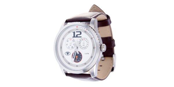 Stylové ocelové hodinky Tom Tailor s tmavě hnědým koženým řemínkem f6278630564