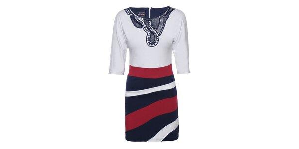 Dámské červeno-modro-bílé šaty s výšivkou Giorgio di Mare