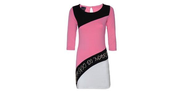 Dámské černo-růžovo-bílé šaty s aplikací Giorgio di Mare