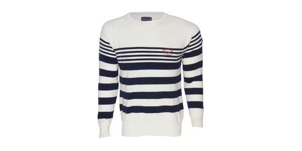 Pánský bílý svetr s pruhy Giorgio di Mare