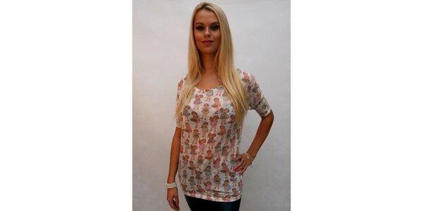 Dámské bílé tričko s panenkami Stradivarius