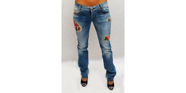 Dámské modré džíny s nášivkami květin Killah