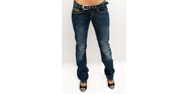 Dámské tmavě modré džíny s šisováním Killah