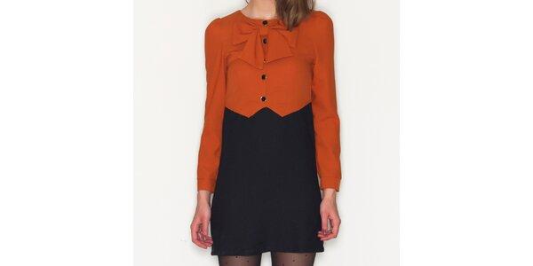 Dámské oranžovo-černé šaty Pepa Loves