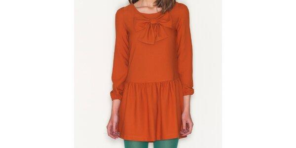 Dámské oranžové šaty s mašlí Pepa Loves