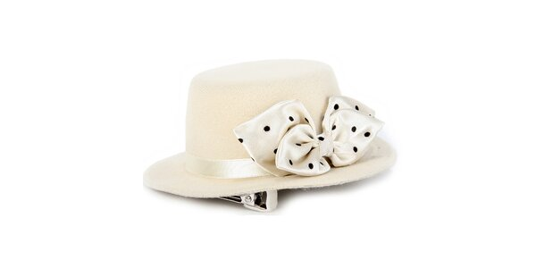 Dámský krémový ozdobný klobouček s mašlí Pepa Loves