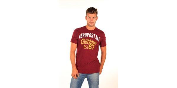 Pánské vínové tričko s potiskem Aéropostale
