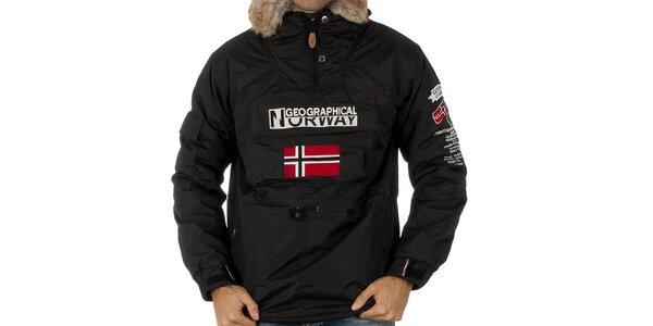 Pánská černá bunda s nášivkami Geographical Norway