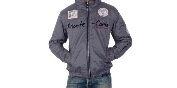 Pánská šedá bunda s nápisem Geographical Norway