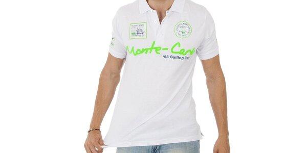 Pánské bílé polo tričko Geographical Norway se zeleným nápisem