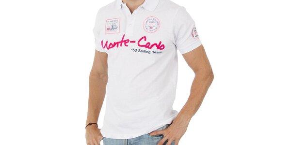 Pánské bílé polo tričko Geographical Norway s nápisem