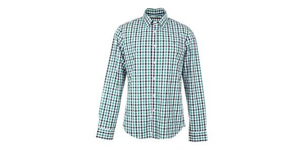 Pánská zeleno-bílo-černě kostkovaná košile GAS