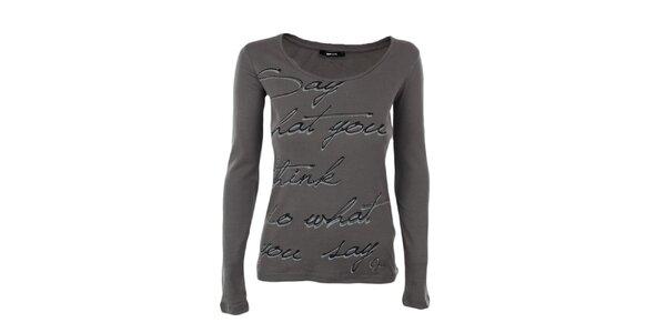 Dámské hnědo-šedé tričko s dlouhým rukávem GAS