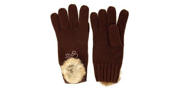 Dámské hnědé rukavice s kožešinkovou bambulkou GAS