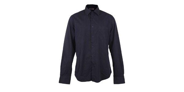 Pánská černá košile s modrým proužkem GAS