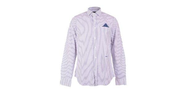 Pánská modro-bíle pruhovaná košile GAS