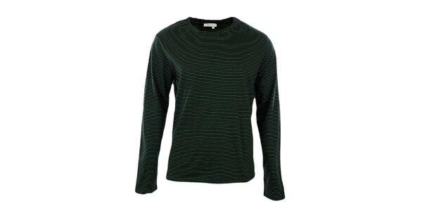 Pánské zeleně pruhované tričko s dlouhým rukávem GAS