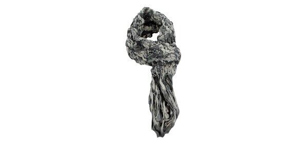 Dámská šedobílá pletená šála Timeout