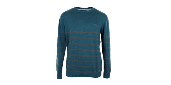 Pánský tyrkysový svetr s pruhy Timeout