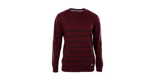 Pánský tmavě červený svetr s proužky Timeout