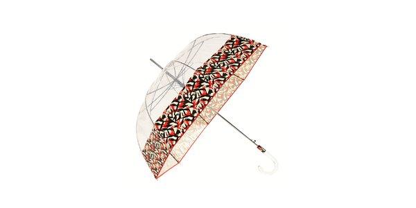Dámský holový transparentní deštník Ferré Milano s červeným okrajem