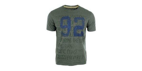 Pánské šedé triko s modrým číslem Timeout