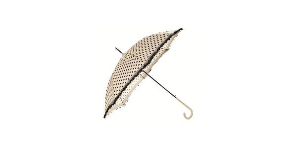 Dámský krémový holový deštník Ferré Milano s černými puntíky