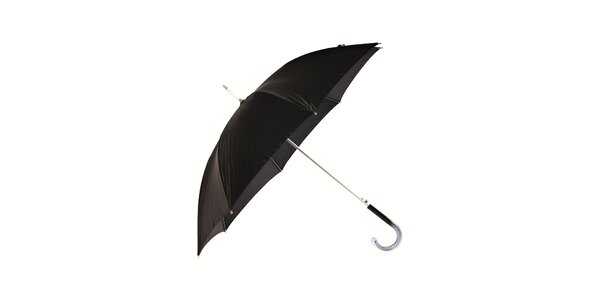 Dámský černý holový deštník Ferré Milano se stříbrnými detaily