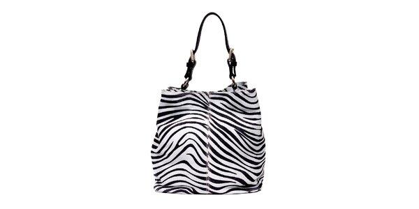 Semišová kabelka značky Puntotres Barcelona v imitaci zebry