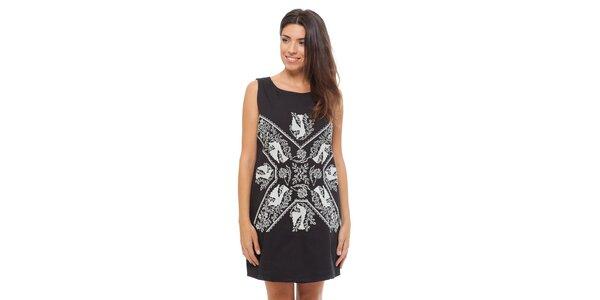 Dámské černé šaty Strena s bílou výšivkou