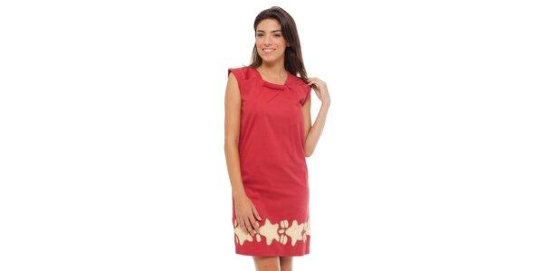 Dámské červené šaty Strena s potiskem