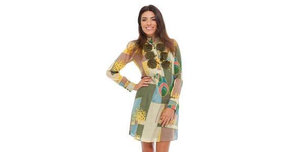 Dámské hedvábné šaty Strena s barevným potiskem