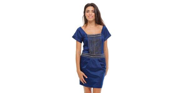 Dámské tmavě modré saténové šaty Strena s řetízky