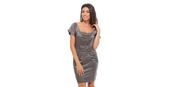 Dámské ocelově šedé saténové šaty Strena s řetízky