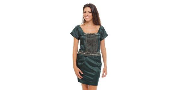 Dámské tmavě zelené saténové šaty Strena s řetízky