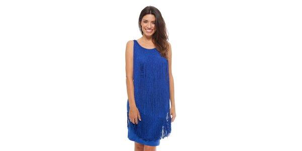 Dámské zářivě modré šaty Strena s třásněmi