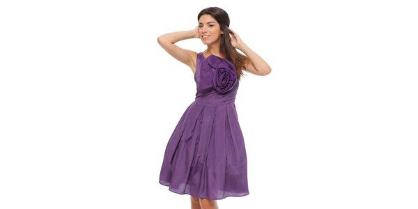 Dámské fialové šaty Strena s velkou růží