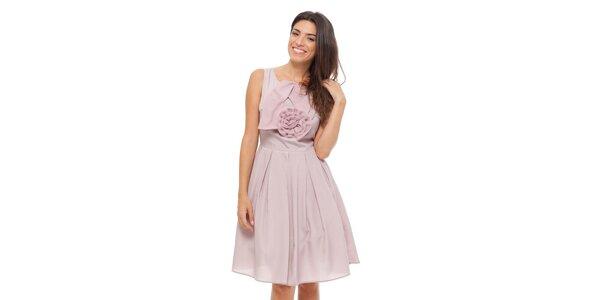 Dámské světle růžové šaty Strena s velkou růží