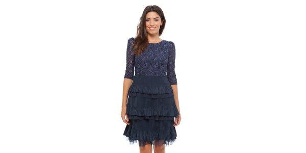 Dámské tmavě modré krajkové šaty Strena s volány