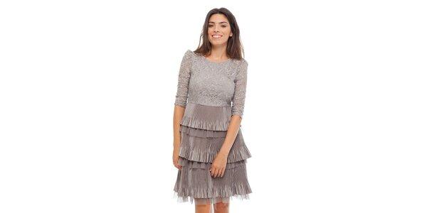 Dámské šedé krajkové šaty Strena s volány
