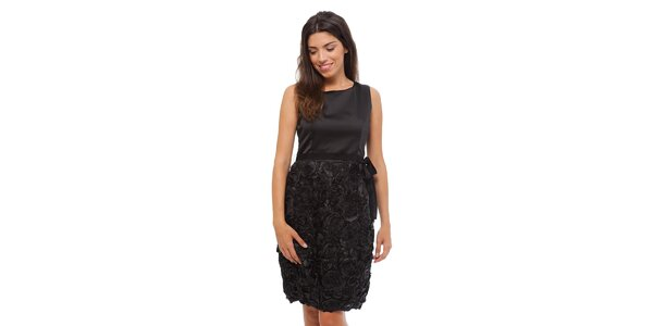 Dámské černé šaty Strena s růžičkami