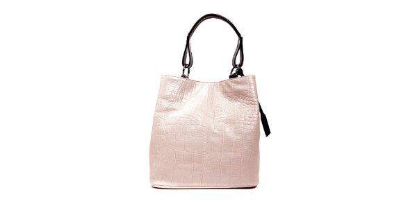 Béžová kožená kabelka značky Puntotres Barcelona v imitaci krokodýla