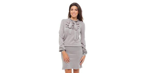 Dámské světle šedé úpletové šaty Strena s vázankou