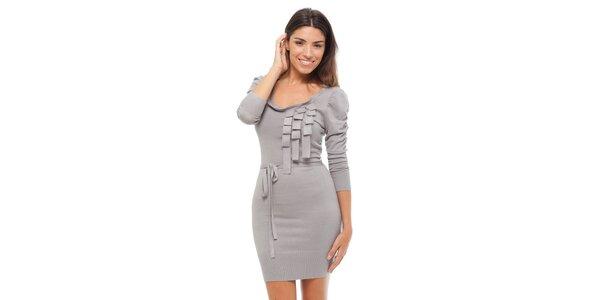 Dámské světle šedé úpletové šaty Strena