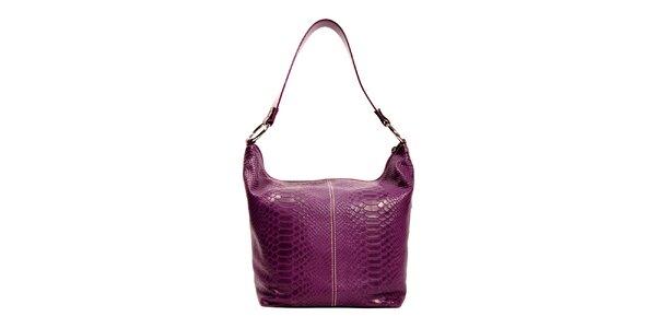 Fialová kožená kabelka značky Puntotres Barcelona v imitaci hada