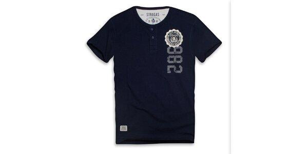 Pánské tmavě modré triko s knoflíčky a potiskem Paul Stragas